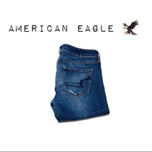American Eagle Super distressed stretch jeggings
